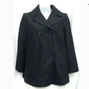 Jones New York Pea Coat Black Double Breasted Wool
